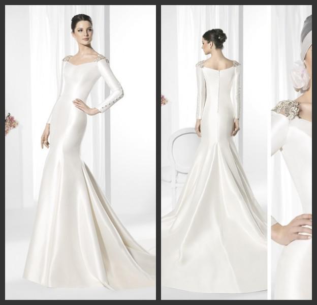 2015 New Elegant Full Long Sleeves Mermaid Wedding Dresses: 2015 Elegant V Neck Long Sleeve Slim Fit Mermaid Bridal