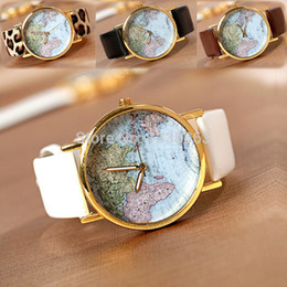 Wholesale World Map Wrist Watch - Wholesale-2016 New Leather Watches With World Map Watch Dial Unisex Watches Wrist watch 4 colors Black  White  Coffee  Leopard #14 18539