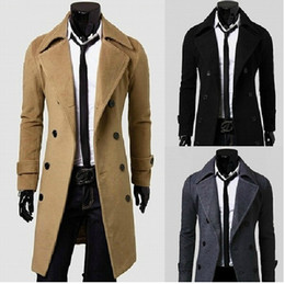 Wholesale Mens Gray Trench Coat - 2015 New Brand Winter mens long pea coat Men's wool Coat Turn down Collar Double Breasted men trench coat