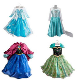 Wholesale Cartoons Clothing For Kids - 1pc Frozen Dress Elsa Anna For Girl Princess Cosplay Party Dresses Cartoon Red Cape Brand Girls Children Clothes Kids Drop Shipping