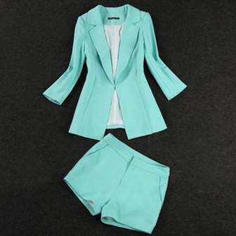 Online Cheap Women Ol Mint Green Coral Jacket Blazer  Shorts Suit ...