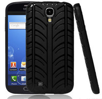 Wholesale Galaxy S4 Tyre - Wholesale-1pc Free Shipping Black Rubber Tyre Soft Silicone Skin Case Cover for Samsung Galaxy S4 SIV I9500