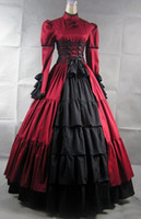 Wholesale Cheap Victorian Dresses Costumes - Cheap Multi Layers And Ruffles Stripless Satin Cosplay Gothic Victorian Lolita Dress Prom Dress Halloween Costume
