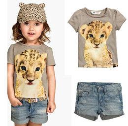 Baby Leopard Print T Shirt NZ - 6Set Children Summer Short Sleeve Leopard Printed T-Shirt + Denim Shorts 2pcs Set Baby Girls Casual Jeans Suits Kid's Animal Clothing Set