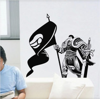 Wholesale Lol Stickers - LOL Garen Banksy Vinyl Art Wall Stickers decals for Nursery and kids room Free shipping 54CM*58CM