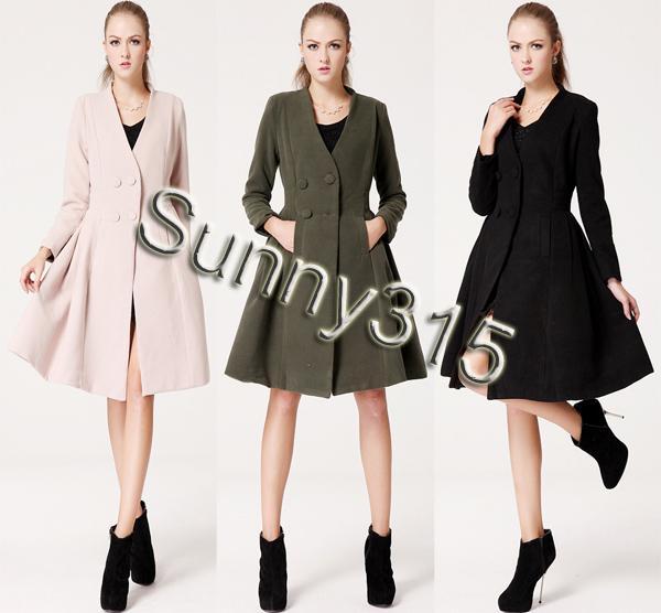 elegant new plus size women wool coat korean v neck knee length