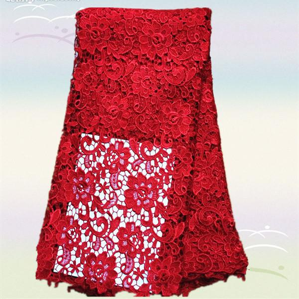 top popular Most popular XW1-4 red flower design African chemical water soluble lace fabric,Top grade french guipure lace fabric for dress 2021