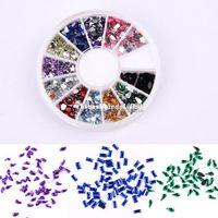 rhinestones azul resina flatback venda por atacado-Nail Art Strass Decoração 3D Roda Cor Mix Glitter Gemas Design Que Bling Etiqueta de Cristal # 005 18647