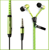 Wholesale Earphone Mic Remote High Quality - High quality 3.5mm in-ear Stereo Universal Zipper Earphones Headset headphone With Remote Mic for iPhone X 8 Samsung s8 HTC Cell Phone