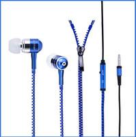estilos de micrófono al por mayor-EN la caja 1404X 2014 Nuevo Estilo Auriculares Estéreo para Bajo En la Oreja Metal Zipper Auriculares Auriculares Con MIC 3.5mm Jack Envío Gratis