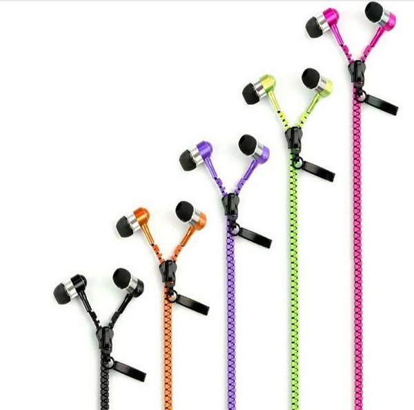 Auricolare stereo da 3,5 mm Jack Bass Auricolari auricolari auricolari in metallo con microfono e volume auricolari Zip Zipper per iPhone Samsung MP3