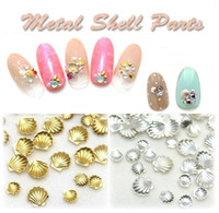 Wholesale Studs For Nail Art - 3mm & 5mm Gold, Silver Shiny Mini Metal Shell Design Stud For UV Gel Nail Art Decoration 100 pcs   pack