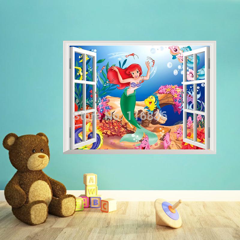 Superb Wholesale Home Decoration Little Mermaid Fake Window Cartoon Wall Stickers  Decor For Kids Room Vinyl Decal 3d Art Sticker Childrens Wall Sticker  Childrens ...