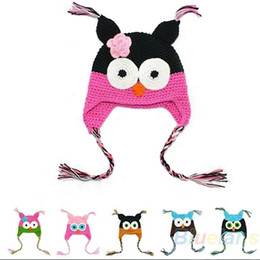Wholesale Black Owl Crochet Hat - Wholesale-Multicolor Infant Toddler Handmade Knitted Crochet Baby Hat owl hat Cap with ear flap Animal Style For Girl Boy Gift