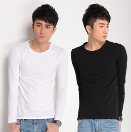 Wholesale HOT SALE T Shirts Men s solid color cotton long sleeved T shirt Slim Men Men s classic production Men s Clothing