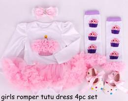 Wholesale Autumn Cake - 10% discount girls long sleeved christmas rompers tutu dress 4pc set infant 3D cake tutu romper dress + dot waking shoe + rainbow leg warmer