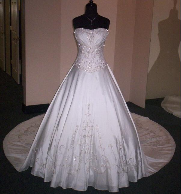 Pure White sweetheart taffeta silver embroidery beads A-line ...