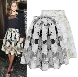 Wholesale 2014 new women s fashion wild printed organza tutu skirts put on a large floral chiffon skirt high quality