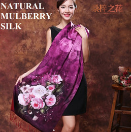 Wholesale Long Silk Tassels - Shanghai Story 100% natural mulberry silk scarf duble layers brushed cashmere women silk pashmina tassel 190*52 long silk shawl No 11-No 19