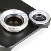 Wholesale Detachable Wide Angle Lens - Wholesale -Detachable High Clarity 2 in 1 0.67X Wide Angle Macro Cellphone Lens Telephoto Camera with Back Case Cover for iPhone 4 4S 5S 6