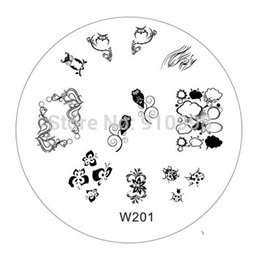 Wholesale Gel Nail Stamps - W series 70MM Nail Art Stamp Stamping Stainless Steel Image Plate Design Template