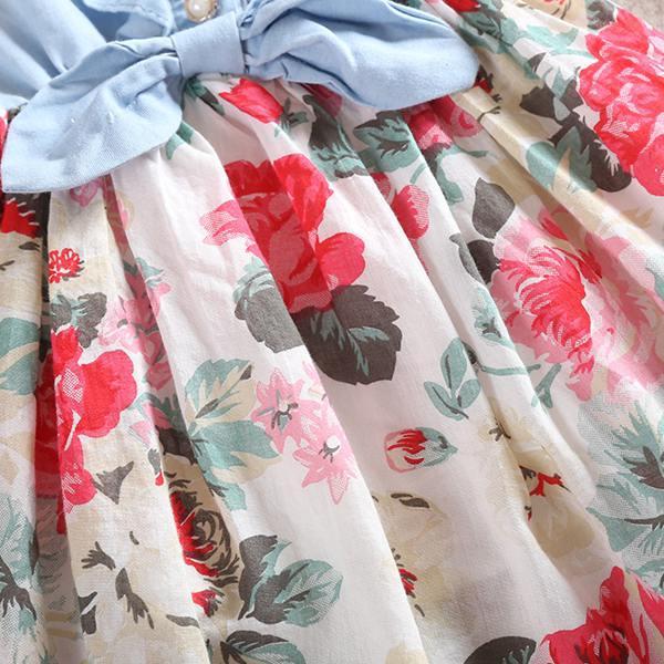 Gorąca Sprzedaż Baby Girls Denim Dress Floral Kids Princess Sukienki Bawełna 2016 Summer Bez Rękawów Tutu Dress Moda Party Dresses / Melee