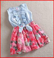 Wholesale Kids Denim Print Shorts - Hot Sale Baby Girls Denim Dress Floral Kids Princess Dresses Cotton 2016 Summer Sleeveless Tutu Dress Fashion Party Dresses 4pc lot melee