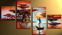 Wholesale Hand Painted Scenery Oil Painting - 4 piece set African Landscape abstract oil painting Scenery hand painted canvas wall art decor artwork