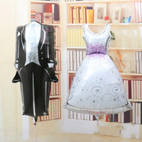 Wholesale Aluminum Topper - 2017 New the bride and groom dress aluminum foil balloon Foil Helium Balloon for wedding Party decorations supplies 35.8 inch