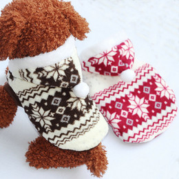 Wholesale Drop Shipping Pet Clothes - Wholesale-2014 Fashion Pet Dog Snowflake Print Winter Coat Puppy Clothes Coral Fleece Hoodie Jacket Free shipping & Drop shipping