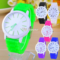 Wholesale Quality Wholesale Watches For Sale - Wholesale-Hot sale New Fashion wristwatches Ladies silicone jelly watch quartz watch for women men TOP Quality dress watch 6colors 18904