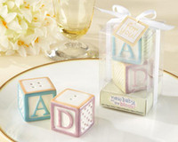 "Wholesale Blocks Baby Shower - Free shipping 10 sets lot Baby Shower and Children Favor ""New Baby on the Block"" Ceramic Baby Blocks Salt & Pepper Shakers"