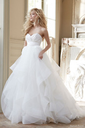 Barato Vestido De Noiva De Organza De Tul Doce-2017 Hayley Paige Wedding Dresses Organza Sexy / Tulle Querida Natural Wasit Zipper Voltar Princesa Estilo Sweep Train Bridal Wedding Dresses