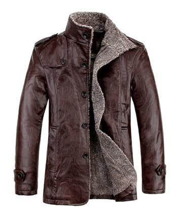 top popular New 2014 Winter Male Fur stand Collar Thickening And Wool Windbreak Waterproof Lether Jackets Leather Coat Men's Leather Jacket 2019