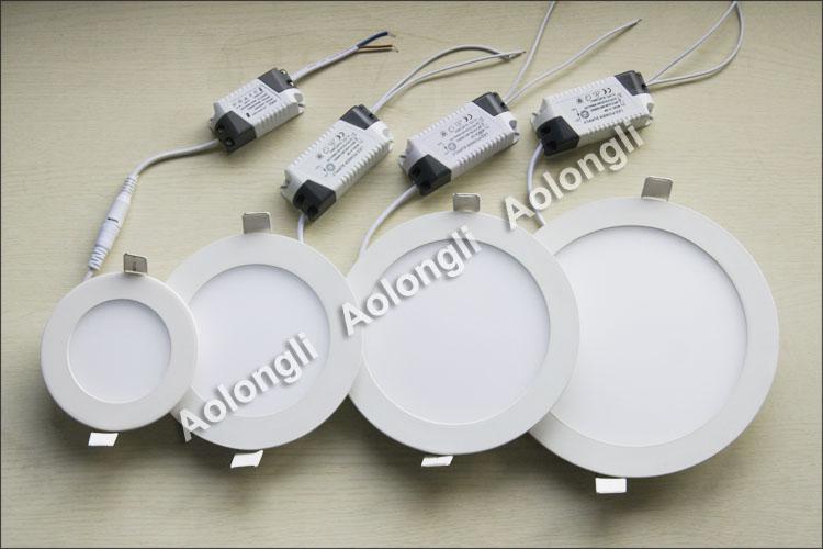 UltraThin 6 W 9W 12W 15W 18 W LED Lights Lights SMD2835 Downlight 85-265V z zasilaniem Sufit Sufit W DÓŁ Ciepłe białe fajne białe