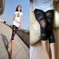 Wholesale Sexy Leggings Tights Feet - HOT Sexy Fashion Skinny Wrappings Stretch Tight Pants Leggings Cross Fashion Slim Thin Trousers Feet Women's Clothing