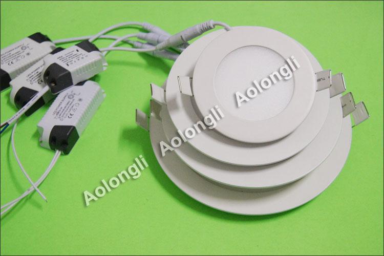 FREE DHL 6W 9W 12W 15W 18W LED Plafoniere Lampada da soffitto da incasso Downlight 85-265V Ultrathin Panel Panel luci con alimentazione Bianco bianco freddo bianco