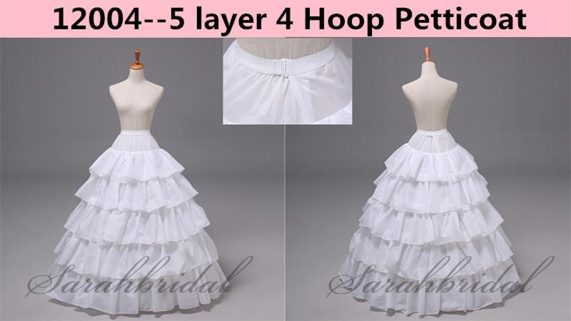 En stock Barato 5 capas 4 aro enagua para el vestido de noche de la boda Vestido de bola de crinolina Falda Slip Nupcial Underskirt Accesorios de imagen real