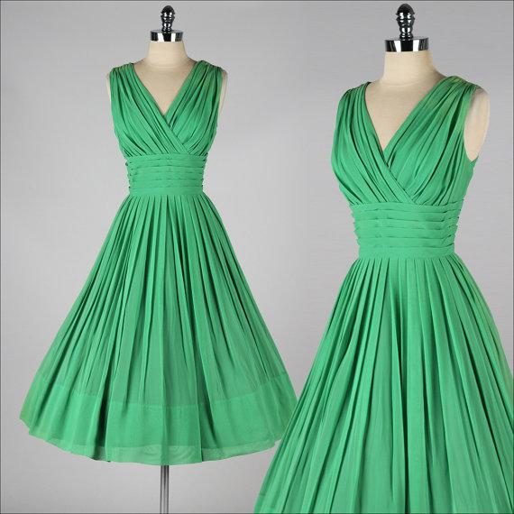 Vintage 1950s Party Dress Emerald Green Crepe Chiffon V Neck A Line ...