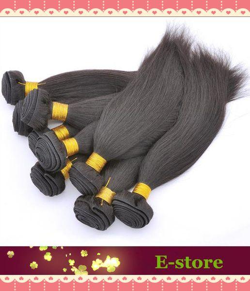 En stock, Pelo humano real filipino recto 1 # Jet Black Longitud mezclada 3 piezas por lote Extensión de cabello humano, M