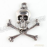Wholesale Wholesle Hot Selling New Skull Charms Antique Silver Plated Alloy Pendant Jewelry Findings x20x3mm