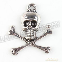 Wholesale Silver Skull Charms - Wholesle-Hot Selling 90pcs lot New Skull Charms Antique Silver Plated Alloy Pendant Jewelry Findings 23x20x3mm 142855