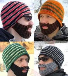 Barba da tampa do crânio on-line-New Outono Inverno Dos Homens Barba De Malha Gorro De Esqui Da Bicicleta Do Esqui Chapéu Unisex Homens Barba Tampão de Lã Chapéus