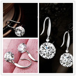 Wholesale Earrings Event - 2015 New Shinning Crystal Bridal Jewelry Gorgeous Sparkling 925 Silver Wedding Eardrop Prom Party Event Earbob Evenning Accessories Earrings