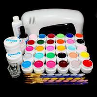 Wholesale Sable Brush Sets - Wholesale-Free Shipping PRO FULL 9W UV GEL White Lamp NAIL KIT 30 Color Pure UV GEL 5 Sable Acrylic Brush Nail Art Set