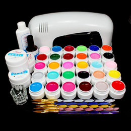Lámparas De Uñas Uv Pro Baratos-Comercio al por mayor -Libre PRO COMPLETO 9W UV GEL lámpara blanca UÑAS KIT 30 Color UV Pure GEL 5 Sable acrílico Pincel Nail Art Set
