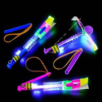 Wholesale Kids Novelty Umbrella - LED Amazing flying arrows helicopter umbrella light parachute kids toys Novelty Toy Funny Toy Christmas Party Gift