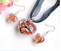 Wholesale Lampwork Glass Pendants Wholesale China - Streamer glitter murano lampwork blown venetian glass Necklaces pendants and Earrings jewelry sets handmade fashion jewelry