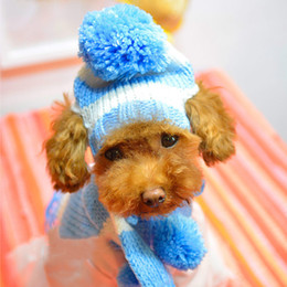Discount knit dog collar - Wholesale-New Clothes for Pets Dogs Products Apparel Winter Scarf Pom-pom Cap Collar Costume Clothes Warm Knitted Hat Fr
