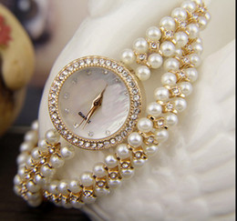 Wholesale Round Acrylic Beads Mm - Fashion female watch Valentine's day gifts, luxuriant winding double beads female watches Shell surface only beautiful diamond watch pearls
